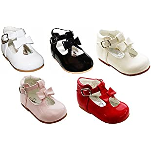 Customer reviews Sevva Baby Infant Girls Patent First Walking Shoes Bow Trim Spanish Type Style 21201 Sizes 2 3 4 5 6 (UK 2 (18 Euro) 11cm 6-12 months, Pink)