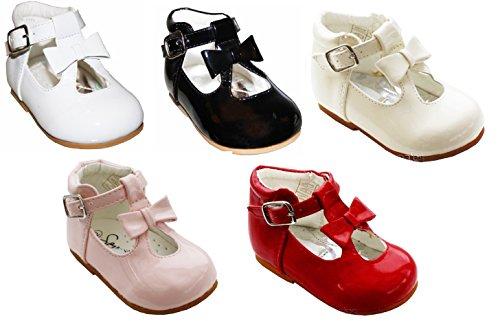 Schuhe für Mädchen, Kleinkinder, glänzend, Lackschuhe, mit Schleife, spanischer Stil, weiß/schwarz/creme/rosa/rot, für Party, Hochzeit, rutschfeste Gehhilfe, rot - rot - Größe: 37 EU-Kinder