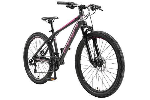 BIKESTAR Hardtail Mountain Bike in Alluminio, Freni a Disco, 26' | Bicicletta MTB Telaio 16' Cambio Shimano a 21 velocità, sospensioni | Nero Rosa