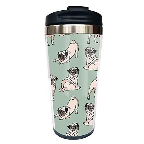 Waldeal Cute Pug Travel Coffee Mug with Flip Lid, Animal Stainless Steel Tumbler Cup Water Bottle 15 OZ, Best Mug for Friends Men Women