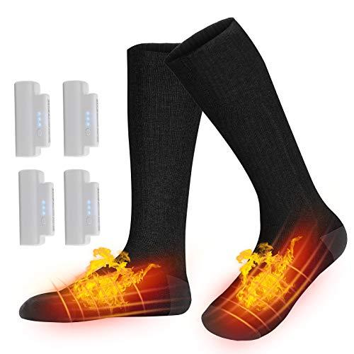 Karcore Beheizbare Socken, Elektrische Warme Socken, Fusswärmer Socken Heated Socks, Wiederaufladbare Batterie Heizsocken Elektrisch mit 3 Dateien Einstellbarer Temperatur für Damen Herren (Schwarz)
