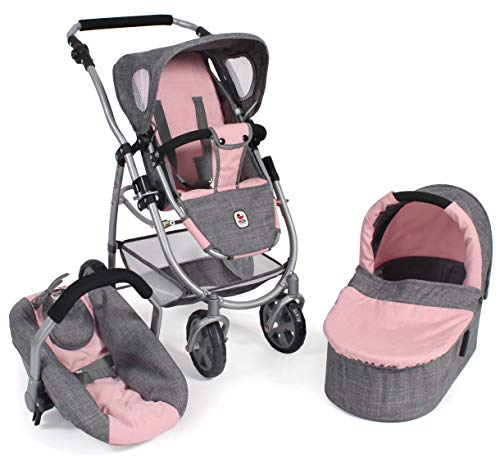 Bayer Chic 2000 637 15 Kombi Emotion All In, 3-in-1 Puppenwagen, Melange grau-rosa