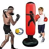 Sac de Boxe Gonflable,Sac de frappe sur pied pour enfant 160 cm - Colonne de frappe gonflable pour enfant - Pour le karaté, le taekwondo, le fitness, la décompression, avec pompe à air inclus