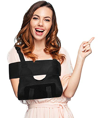 Medical Arm Sling, Arm Immobilizer Sling, Comfort, Best Fully Adjustable Rotator Cuff and Elbow Support for Broken&Fractured Arm, Includes Immobilizer Band for Quick Recovery (Adult)