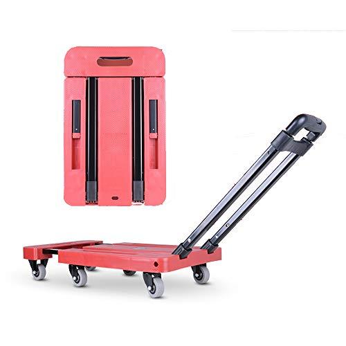 FEZBD Schubkarren-Transportwagen, fahrbarer Plattform-Hand-LKW, faltbar für einfache Lagerung und 360-Grad-Schwenkräder mit 200 kg Gewichtskapazität für die Reise,Red