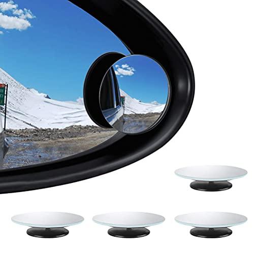 YANSHON 4 Stück Auto Totwinkel Seite Konvexen Spiegel Rearview 360° Verstellbarer Auto Toter Winkel Spiegel HD Glas Konvex Rückspiegel Selbstklebend Runder Weitwinkelspiegel für alle Autospiegel