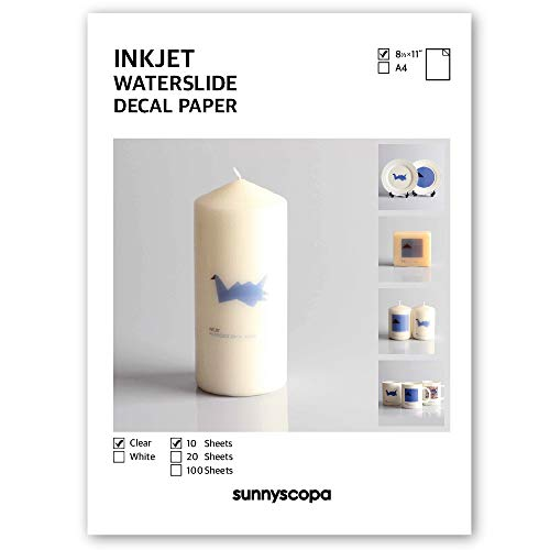 Sunnyscopa Waterslide Decal Paper for INKJET Printer - CLEAR, US LETTER SIZE 8.5
