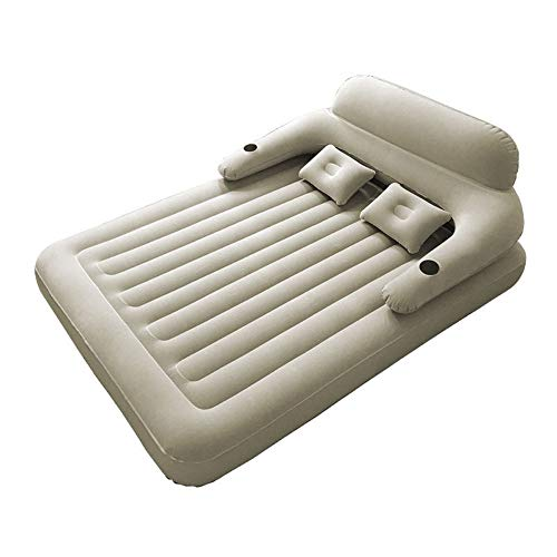 Skysep Comfortable Camping Air Bed Large Double Inflatable Beds with Electric Pump 203×152×22cm Comfortable Flocked Air Mattress Enjoy (Color : Beige)