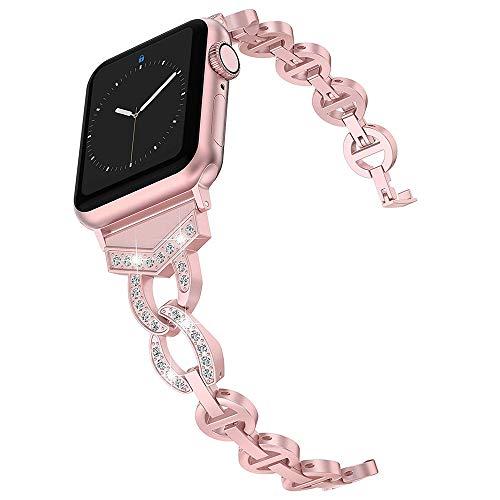 LIUZH Bandas de metal compatibles con Apple Watch Correa de acero inoxidable de repuesto, correa deportiva suave y transpirable para Iwatch Series 6/SE/5/4/3/2/1 para mujeres y hombres
