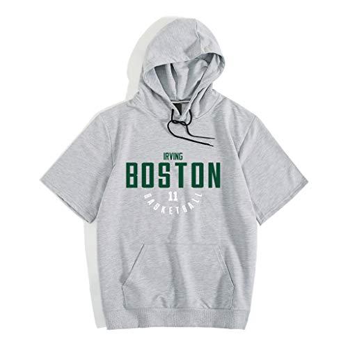 CHANGRAN Jersey de Baloncesto de Verano Brooklyn Nets # 11 Irving Camiseta de Manga Corta con Capucha Traje de Entrenamiento Deportivo Transpirable Aptitud Adulto Gris,XL