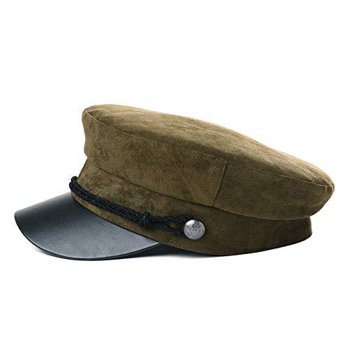 FancetHat FancetHat Winter Kunstleder Elbsegler mütze Damen Schiffermütze 56-59 cm Armygrün
