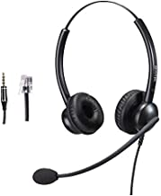Office Headset with RJ9 Jack for Cisco Phone,Including 3.5mm Connector for Cell Phone PC Laptops, Binaural Telephone Headset with Noise Cancelling Microphone for Call Centers Landline Deskphone