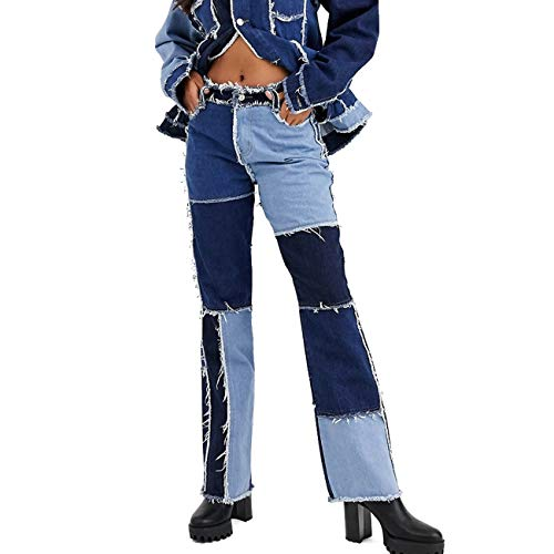 Yyibsones Women Sexy Stretchy Flare Jeans Ladies Trousers Bell Bottom Patchwork Denim Jean Pants (Blue, XX-Large)