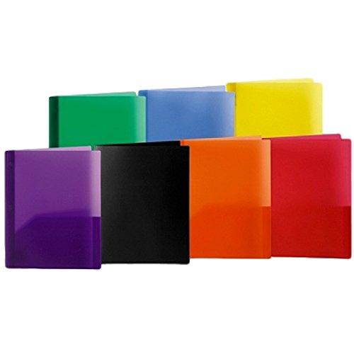 Poly 2dossiers de poche avec attaches Lot de 7couleurs assorties Office Depot