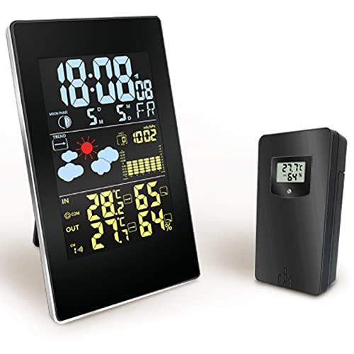FHISD Hygrómetro inalámbrico Digital Termómetro al Aire Libre Interior Temperatura y Monitor de Calibre de Humedad con medidor de Humedad de Pantalla LCD de retroiluminación, para Oficina en casa