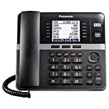 Panasonic Office Phone, Expandable 4-Line Desk Phone for Small and Medium Business, Corded Phone Base Station Expandable Up to 10 Business Phones Wirelessly - KX-TGW420B (Black)