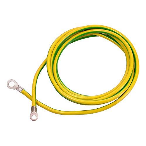 as - Schwabe aardingskabel - 3 m aardingskabel - aardingskabel met 1 ringoog A8 / 16 mm2 & 1 grondschoen A10 / 16 mm2 - ideaal voor kruis - voor commercieel en bouwplaats - geel/groen I 70869