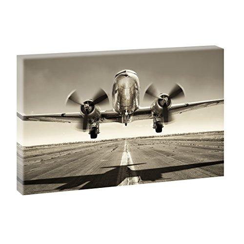 Oldtimer Bild auf Leinwand Propellerflugzeug - 100x65 cm Wandbild im XXL-Format, Leinwandbild mit Kunstdruck, Auto Fotografie auf Holzrahmen gespannt, Made in Germany, Farbig