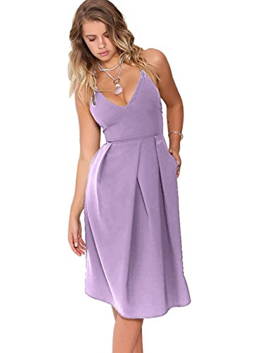 Eliacher Women's Deep V Neck Adjustable Spaghetti Straps Summer Dress Sleeveless Sexy Backless Party Dresses with Pocket (S, Mauve)