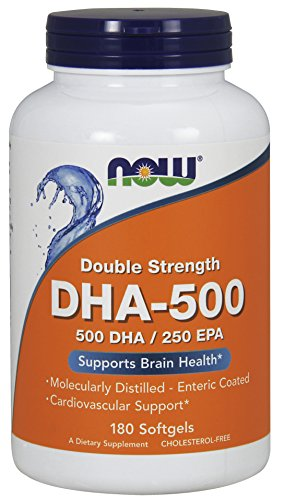 Now Foods I DHA-500 I EPA 250 I Doppelte Stärke I Cholesterolfrei I 180 Softgelkapseln