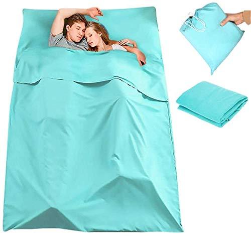 ZT Schlafsack Schlafsack einfach tragen Faltbare 180 x 210cm Doppelschlafsack Tragbarer Liner Polyester-Rohseide Folding Travel Mat Light Blue Mama-Schlafsack