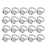 Healifty 20 piezas 12mm anillo en blanco bases de acero inoxidable cabujón anillo bisel espacios en blanco para joyería diy haciendo plata