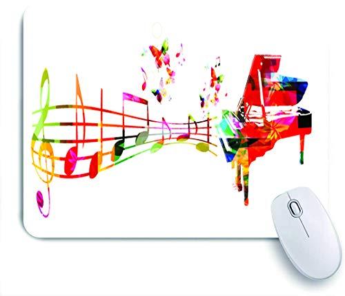 NOLOVVHA Gaming Mouse Pad Rutschfeste Gummibasis,Bunte Musik mit Klavier und Noten,für Computer Laptop Office Desk,240 x 200mm