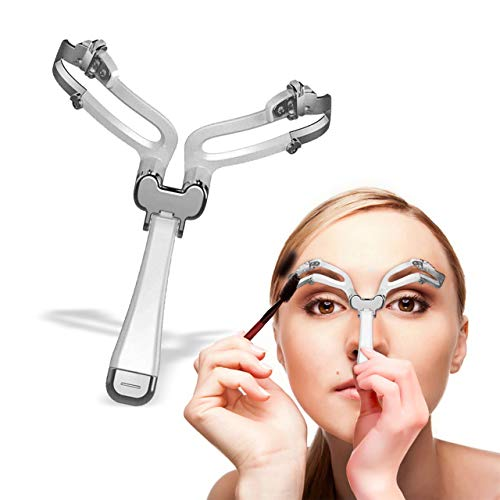 Best Adjustable Eyebrow Shaper Stencil - Reusable Eyebrow Shaping Kit - Portable Eyebrow Template Shaper Stencil DIY Tool - Easy Professional Eyebrow Grooming & Styling (Silver)
