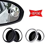 4 PCS Blind Spot Mirrors, 360 Degree Rotatable Convex Wide Angle Car Wing