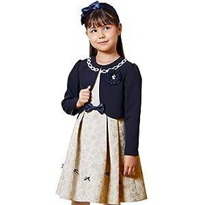 [Amazon限定ブランド] [utremi(ユトレミ)] 入学式服 女の子 スーツ 子供 ローズジャカードリボンモチーフアンサンブル 2101-8311 (ベージュ, 130B)