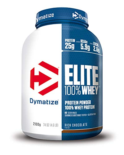 Dymatize Elite Whey Rich Chocolate 2,1Kg - High Protein Low Sugar Pulver + Whey Protein und BCAAs