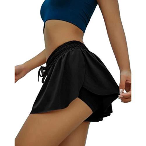 Pantalones Cortos Casuales para Mujer Pantalones Cortos Deportivos de Yoga de Cintura elástica con cordón de Verano Pantalones Cortos Deportivos Casuales Europeos y Americanos S