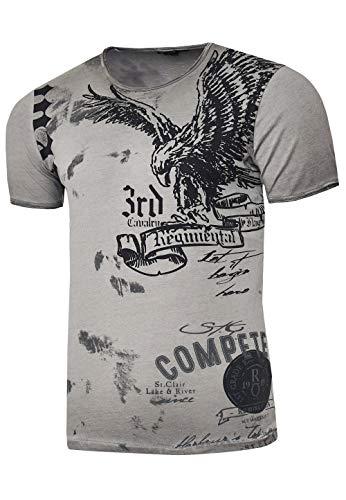 Rusty Neal Herren T-Shirt Rundhals USA Adler Tee Shirt Kurzarm Regular Fit Stretch 100% Baumwolle S M L XL XXL 3XL 235, Farbe:Anthrazit, Größe:S