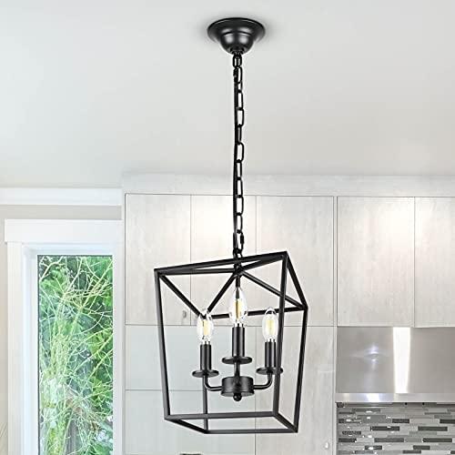 Unicozin Vintage Lantern Pendant Light, 3-Lights Lantern Chandelier for Dining Room Bar Cafe, E12 Base, Black (Bulbs Not Included)