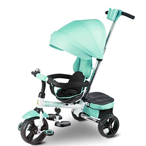 Best Price Tricycle Green 4 in 1 Kids W/Canopy - Baby Steer Stroller with Steering Handle for Age 1-...