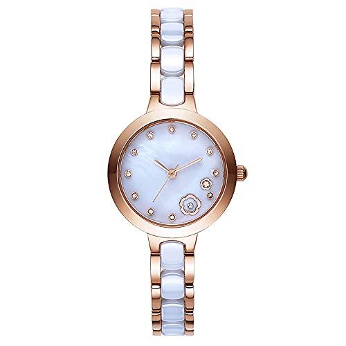 Relojes De Pulsera para Mujeres Correa Cerámica Simple Esfera Pequeña Fresca Pulsera Elegante Material De Acero Inoxidable Cristal De Zafiro Movimiento De Cuarzo Reloj De Mujer (Color : Gold)