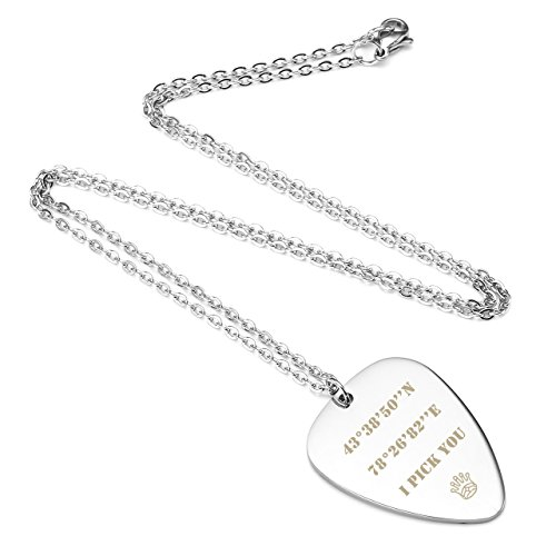 Personalized Master Free Engraving Custom Stainless Steel Guitar Pick Pendant Necklace Valentine's Day for Womens Mens