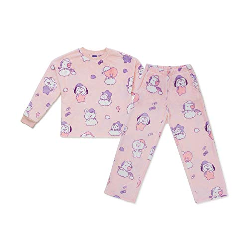 BT21 Baby Collection Soft Fleece Pajama Set Loungewear Sleepwear for Women and Girls, Light Pink, Medium