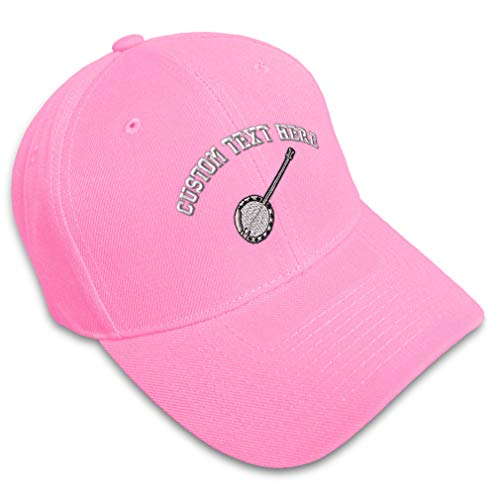 Custom Baseball Cap Banjo A Embroidery Dance & Music General Acrylic Hats for Men Women Strap Closure Soft Pink Personalized Text Here