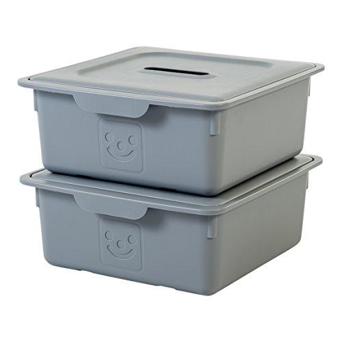 IRIS, 2er-Set Schublade-Box 'Smiley Kids Boxes', KDL-330, Kunststoff, mit Deckel, grau, 33 x 31,5 x 13,5 cm