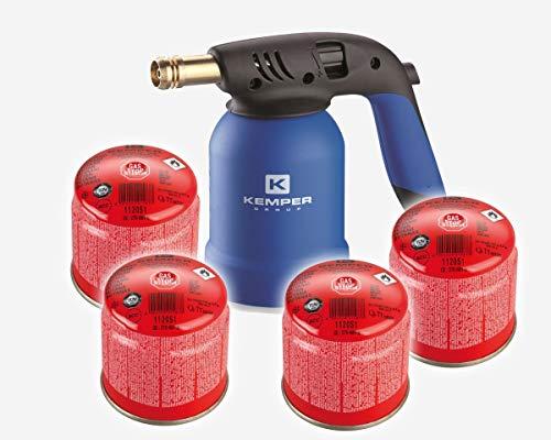 Preisvergleich Produktbild Kemper KE2019 Lötlampe mit Piezo Zündung inkl. 4 x Gas Kartusche