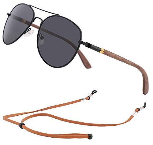An Swallow Piloto Gafas de sol de Madera Bambú Polarizado, Gafas de sol Mujer Hombre Polarizadas Espejo Marca (Lente Negra)