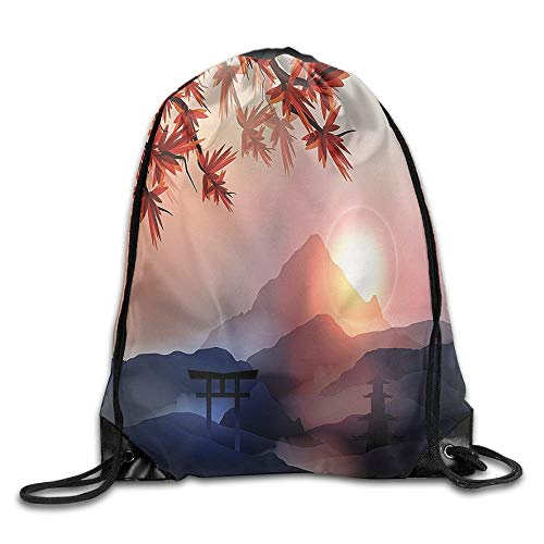 Asian River Scenery with Cherry Blossoms and Boat Cultural Hints Mystical View Artsy Work Drawstring Bags Jogging Backpack for Teens College