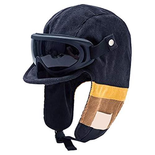 shenruifa Sombrero de moda 2021, sombrero de bombardero vintage para hombres y mujeres, gorra rusa con gafas desmontables sombrero piloto