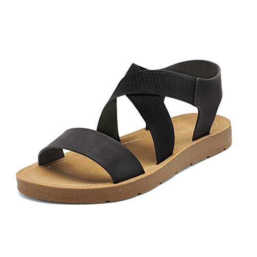 DREAM PAIRS Women's Black Open Toe Elastic Ankle Strap Flat Summer Sandals 8.5 M US Elena-2