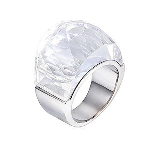 NELSON KENT Damen Edelstahl Halbe Pack Transparente Glas Ring Silber Weiss Größe59(18.8)