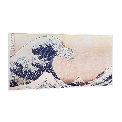 Klarstein Wonderwall Air Art Smart - Infrarotheizung Elektroheizung Heizpanel, 120 x 60cm, 700W, 7-14 m², WiFi: Appsteuerung, geräuschlos, Wandaufhängung, Design: Blaue Wellen in Kanagawa