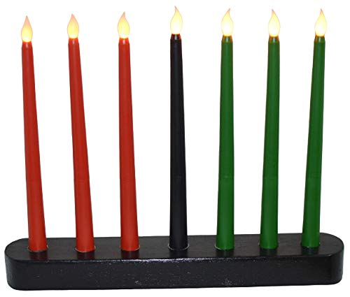 Kwanzaa Kinara - Flameless Battery Powered Electric Candles - Handmade Black Kinara