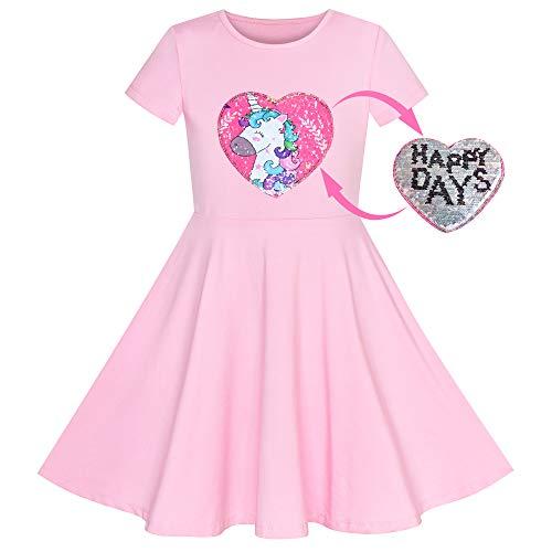 Vestido para niña Unicornio Rosa Manga Corta Casual Todos los días 6 años