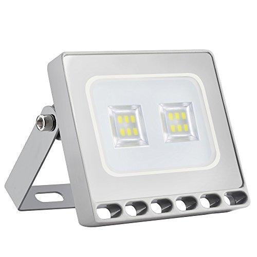 Missbee 10W Led Flood Light, Thinner Lighter Outdoor Security Light, 1100Lm, Cold White 6000-6500K, IP67 Waterproof, Landscape Spotlights for Garage, Yard, Lawn and Garden